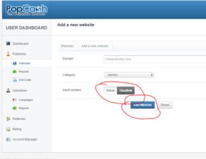 form add website popcash