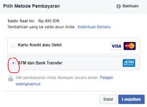 cara mengisi saldo fb ads menggunakan bank lokal 2