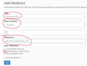 cara redirect domain lama ke domain baru lewat cpanel
