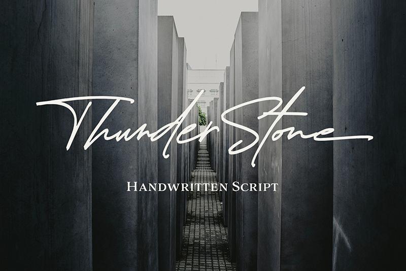 Kumpulan 7 Font Latin Mirip Tanda Tangan Terbaik Terbaru Thunder Stone